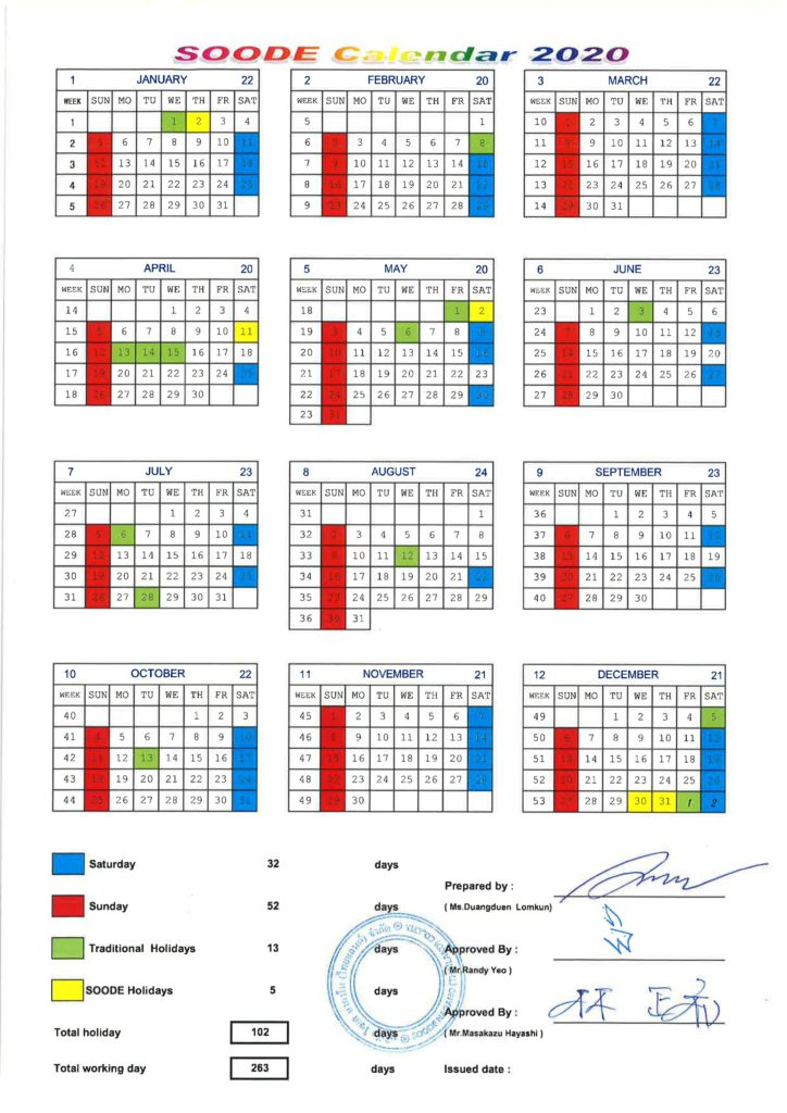 SNT Calendar 2020
